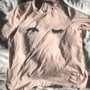 SheIn nude/pink/cream graphic tee US Large